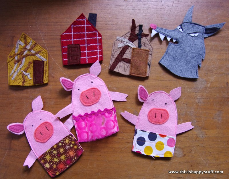 pig puppet template - busy book second page three little pigs happy stuff
